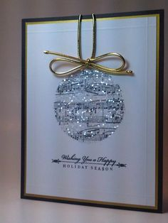 Glittery Music Sheet Ornament Card...with gold string.