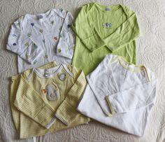 LOT of 4 Sleep Sacks Gowns Baby Newborn 0 6M Up to 6 Months Birds Green Yellow