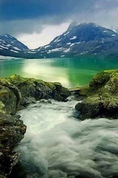 Emerald Glacier Lake, Jutumheim, Norway.