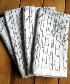 Make your table unique with these 100 percent organic cotton screen-printed napkins, made to order. We love the hand-drawn birch tree pattern. Plus they're machine washable, and—if you're feeling fancy—can be lightly ironed.