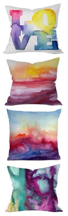 DIY pillows. Draw with a shadow and then add nail varnish remover for this effect.