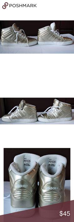 size 40 af0bb 17aa7 Adidas Gold Metallic sz 8 Adidas womens Raleigh Gold Metallic Mid high  Worn twice Sz 8 adidas Shoes Sneakers