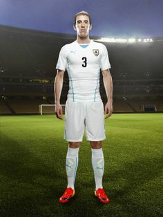 Diego Godín in the 2014 Uruguay Away Kit that features PUMA\'s PWR ACTV Technology