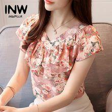 Blusas de verano de moda 2018 Camisas de Mujer de talla grande Tops florales de manga corta Blusa de gasa femenina con volantes blusa Mujer