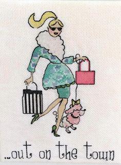 0 point de croix femme shopping et caniche - cross stitch shopping lady with poodle