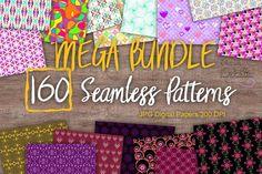 MEGA BUNDLE 160 Seamless Patterns Digital Paper from DesignBundles.net