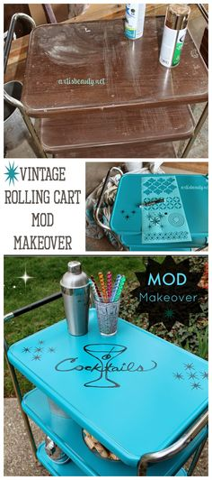 ART IS BEAUTY: Vintage Cosco rolling cart turned MOD Cocktail Cart