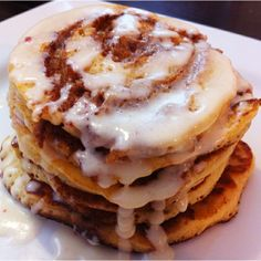 cinnamon roll pancakes! A better name for these is Bipolar Pancakes. It goes something like this ... You eat them and LOVE THEM.  Then you realize all the calories you just consumed and then you HATE yourself. Wah lah, bipolar pancakes! Luv 'em.