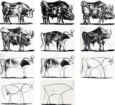 Picasso ended up where normally he should have started. Its true; but in order to achieve his pure and linear rendering of the bull, he had to pass through all of the intermediary stages. And when you stand before his eleventh bull, its hard to imagine the work that went into it