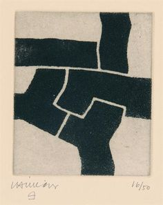 Eduardo Chillida (1924-2002), Zapatu, 1972. Etching on Arches paper with Japan paper. 30cm H x 26.5cm W. Edition of 50 copies.