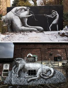 Stunning Black and White Street Art Illustrations by Phlegm