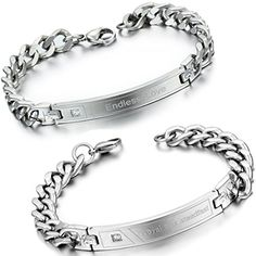 Couple, Amazon, Bracelets, Silver, Jewelry, Arm Cuffs, Silver Color, Wedding Anniversary, Stainless Steel