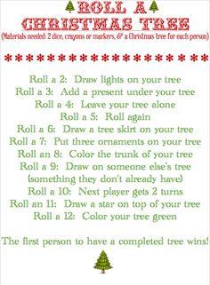 this sounds like a fun activity BLISSFUL ROOTS: Roll a Christmas Tree (Game )A fun thing to do for a family Christmas! Christmas Tree Game, Christmas Activities, Christmas Printables, Christmas Traditions, Winter Christmas, Christmas Crafts, Christmas Ideas, Merry Christmas, Christmas Games For Family