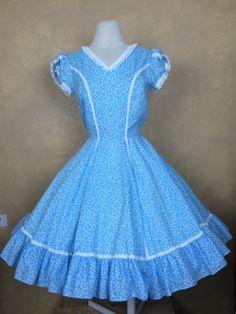Square Dance Dress Blue & White Floral w Lace Trim Size 8 #UnbrandedTagmissing