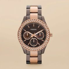 FOSSIL® Watch Collections Stella: Stella Stainless Steel Watch - Brown and Rose ES2955