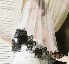 Black Trim Lace Vintage 'Mantilla' Veil ETSY $159 :: halloween wedding