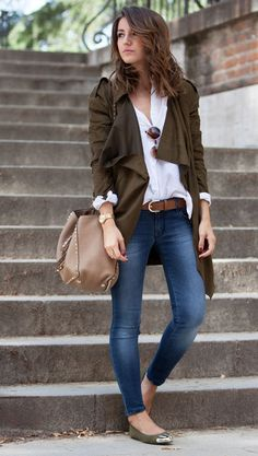 long jacket + blouse + jeans