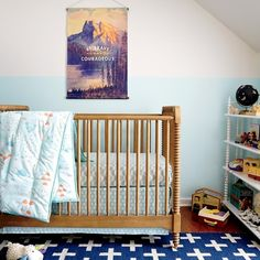 Modern eclectic nursery with kelly green crib The Latest In Modern Nursery Design
