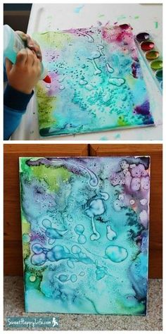 DIY salt and glue abstract art Fun Art Projects, Canvas Art Projects, Art Project For Kids, Kids Painting Projects, Diy Canvas Art, School Art Projects, Painting Tutorials, Diy Tie Dye Canvas, Art School