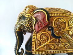 Wooden Elephant Gold Foil Work Used Carved Elephant Big | Etsy Elephant India, Biggest Elephant, Wooden Elephant, Single Piece, Wood Blocks, Gold Foil, Traditional Art, Wood Carving, Antique Gold