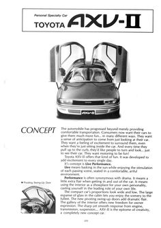 OG | 1990 Toyota Sera | Brochure of the concept AXV-II presented in 1987 at the Tokyo Motor Show.