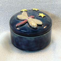 Ceramic Keepsake Box by GrapeVineCeramicsGft on Etsy.com - dragonfly and stars on dark blue