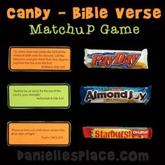 Bible Craft for kids - Candy - Bible Verse Matchup Game for Sunday School from www.daniellesplace.com