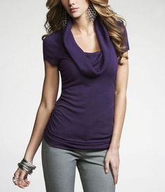 $39.90  Love this color purple with the gray slacks.  From Express.