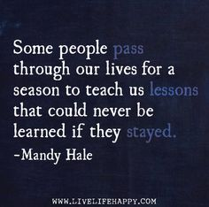 Some people pass through our lives for a season to teach us lessons that could never be learned if they stayed. -Mandy Hale | Flickr - Photo Sharing!