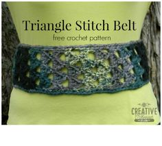 Triangle Stitch Belt, a free pattern designed by Creative Threads by Leah, exclusively for Cre8tion Crochet.