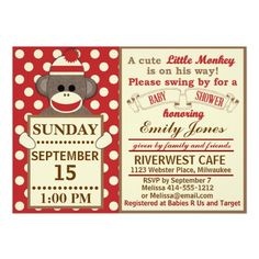 Sock Monkey Baby Boy shower customize Announcements