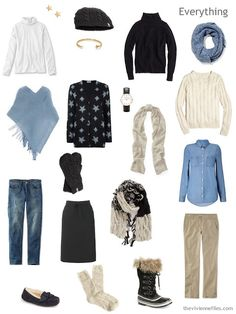How to Expand a Travel Capsule Wardrobe in a blue, white, black, and beige color palette