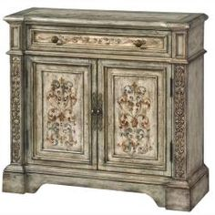 This hand painted washed blue finish accent chest features one functional drawer and an adjustable shelf behind the doors for storage. The chest offers elegant antique brass finished hardware. Decor, Pallet Barn, Elegant Interiors, Blue Wood, Painted Furniture, Hand Painted Furniture, Painted Doors, Accent Chest, Hall Chest