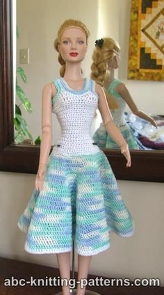 Free instructions for a crocheted Summer Dress for 16-inch dolls such as Ellowyne. #crochettoysbarbieclothes