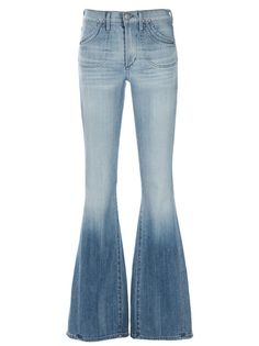 Light blue mid rise 'Angie super flare' jeans from Citizens of Humanity featuring fade detail, four pockets, grey stitching and silver tone embossed logo.