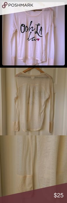 Ooh Lala top New without tags, super fun top. Sheer lightweight fabric. Self Esteem Tops Tees - Long Sleeve