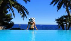 Hotels in the French Riviera. #pool #view. I love the 3 shades of #blue in this shot! #www.frenchriviera.com