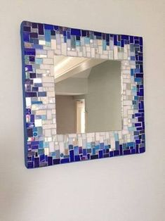15 inch square mosaic mirror, ready to hang. The colors are gradual from white to cobalt blue. Some glass has been fired in the kiln to give it a softer look,. The edges are blue grout. Glass and mirror is reclaimed. The back is painted wood. Mirror Mosaic, Mirror Art, Mosaic Wall, Mosaic Glass, Mosaic Tiles, Stained Glass Birds, Stained Glass Panels, Mosaic Crafts, Mosaic Projects