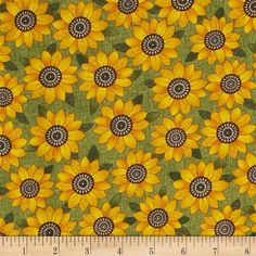 Harvest Song Sunflower Green from @fabricdotcom  Designed by Cheryl Haynes of Prairie Grove Peddler for Benartex, this cotton print is perfect for quilting, apparel and home decor accents. Colors include green, orange, gold, tan and black.