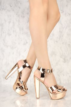 97da527ee31 Rose Gold Strappy Criss Cross Peep Toe Chunky High Heels Patent Faux Leather