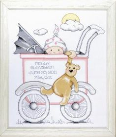 Design Works Baby Buggy Girl Birth Record - Cross Stitch Kit. Cross Stitch Kit contains: 100% cotton 14 count Aida, cotton floss, needle, alphabet and complete