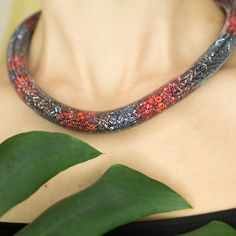 Red and grey thick rope mesh necklace by TubesJewelry on Etsy #necklace #thick #rope #grey #red #silver #snake #mesh #crochet #choker #statement #magnetic #assessories #bold #tube #beads #handmade #etsy
