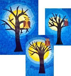 owl before the moon painting of two drawing sheets with yellow or blue tones … - Winter Art Autumn Art, Winter Art, Art Education Lessons, Art Lessons, Art For Kids, Crafts For Kids, Arts And Crafts, School Images, Drawing Sheet