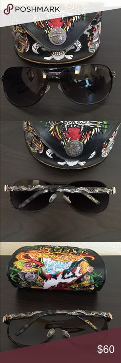 Ed Harley Sunglasses authentic Ed Harley sunglasses- dragon design with matching sunglass case.  Worn a small number of times. No scratches. Accessories Sunglasses