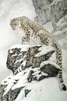 Hermoso leopardo de las nieves ¿Que les parece?