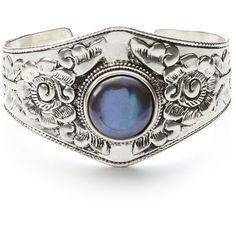 Lucky Brand Pearl Set Stone Cuff ($55) ❤ liked on Polyvore