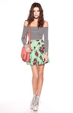 MINKPINK High Waist Print Skater Skirt | Nordstrom