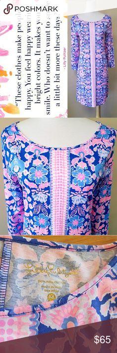 "Lilly Pulitzer 3/4 Sleeve Dress Lilly Pulitzer Dress!! Beautiful pinks & purples! Size Medium, front neckline to bottom is 32.5"" in, neckline to bottom in back is 34.5"" in. Sleeve length from armpit is 14.5"" in Lilly Pulitzer Dresses"