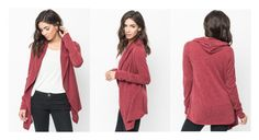 """Burgundy hooded cardigan - Caralase"" by caralasefashion ❤ liked on Polyvore"