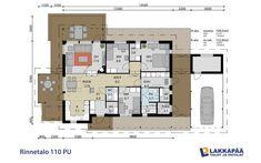 Modernitalo 110 PU  kiva pohja Sweet Home, Floor Plans, Layout, Flooring, How To Plan, House Ideas, Decoration, Design, Home Decor